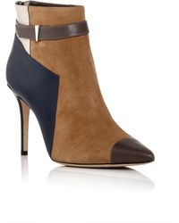 Prabal Gurung   Suede, Calfskin And Snakeskin Leather Belted Ankle Boots   Lyst