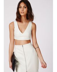 Missguided Snake Embossed Faux Leather Bralet White - Lyst