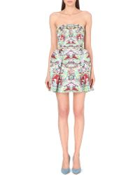 Mary Katrantzou Satin Floral Print Dress - Lyst