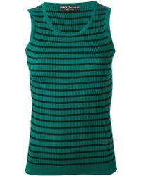 Dolce & Gabbana Striped Ribbed Tank Top - Lyst