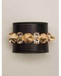 Alexander McQueen Black Jeweled Cuff - Lyst