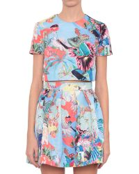 Mary Katrantzou Lynx Faille Top With Abalone Sky Print - Lyst