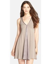 Midnight By Carole Hochman - Charmeuse Trim Jersey Chemise - Lyst