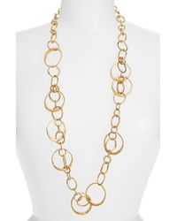 Tory Burch Long Hammered Link Necklace - Aged Gold gold - Lyst