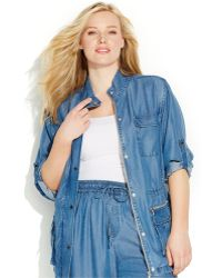 Calvin Klein Plus Size Denim Jacket - Lyst