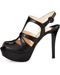 Prada Crisscross Strappy Patent Sandal - Lyst