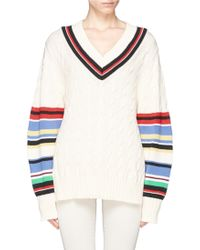 Preen 'Blythe' Stripe Cable Knit Oversize Cotton Sweater white - Lyst