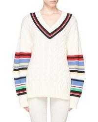 Preen 'Blythe' Stripe Cable Knit Oversize Cotton Sweater - Lyst