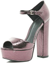 River Island Purple Snake Peep Toe Platforms - Lyst