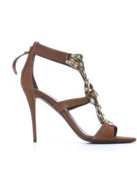 Giuseppe Zanotti Brown Suede Metal And Turquoise Embellished Strappy Sandals - Lyst