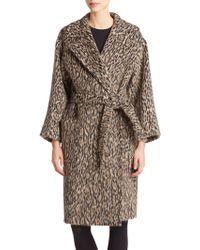 Max Mara Attuale Wool/Alpaca Leopard-Spot Wrap Coat animal - Lyst