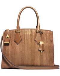 Michael Kors Casey Sueded Snakeskin Large Satchel - Lyst