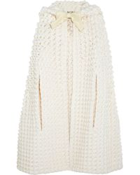 Saint Laurent Hooded Crocheted Woolblend Cape - Lyst