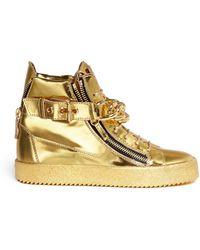 Giuseppe Zanotti 'London' Chain Mirror Leather Sneakers - Lyst