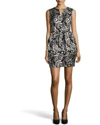 Halston Sleeveless Floral Jacquard Dress - Lyst