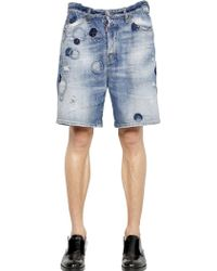DSquared² Dots Wash Cotton Denim Shorts - Lyst