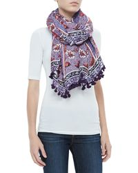 Tory Burch Olea Floral Pompom Scarf Purple One Size - Lyst