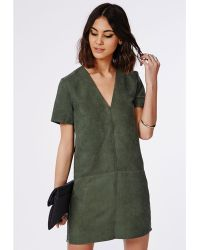 Missguided Suede T Shift Mini Dress Green - Lyst