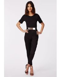 Missguided Alexa Belted Cap Sleeved Jumpsuit Black - Lyst