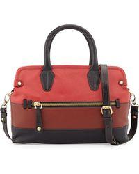 orYANY Lyla Colorblock Saffiano Leather Frame Satchel red - Lyst