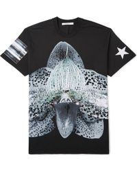 Givenchy Black Orchid-print T-shirt - Lyst