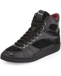 Just Cavalli Crocembossed Leather Hightop Sneaker - Lyst