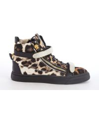 Giuseppe Zanotti Brown and Black Leopard Print Calf Hair Crystal Studding Fastening Tape Sneakers - Lyst