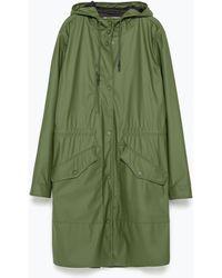Zara Waterproof Parka green - Lyst