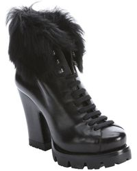 Prada Black Leather And Dyed Sheep Lug Sole Platform Ankle Boots - Lyst
