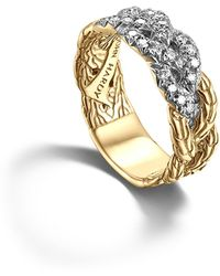 John Hardy - Classic Chain 18k Yellow Gold Diamond Pave Woven Braided Band Ring - Lyst