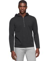 Calvin Klein Black Quarter-zip Hoodie - Lyst