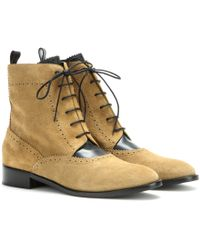 Balenciaga Suede Brogue Ankle Boots - Lyst