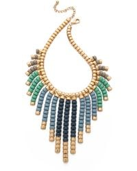 Adia Kibur - Beaded Fringe Necklace Blue Multi - Lyst