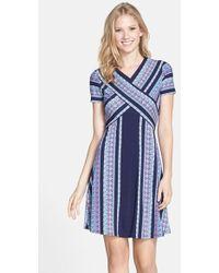 BCBGMAXAZRIA 'Jeanine' Tapestry Print Fit & Flare Dress blue - Lyst