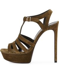 Saint Laurent - Bianca Suede T-strap Sandal - Lyst