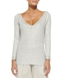 Donna Karan New York Cashmere Sequined V-neck Top - Lyst