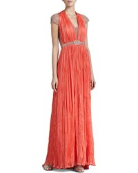 Catherine Deane Cap-Sleeve Beaded-Inset Gown - Lyst