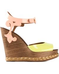 Dolce & Gabbana Brocade Wedge Sandals - Lyst