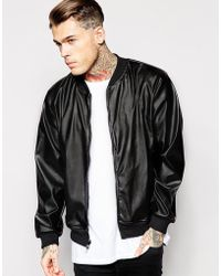 American Apparel Faux Leather Bomber Jacket black - Lyst
