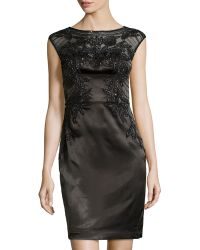 Sue Wong Cap-sleeve Mesh-top Beaded Cocktail Dress - Lyst