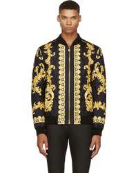 Versace Black Silk Baroque Bomber Jacket - Lyst