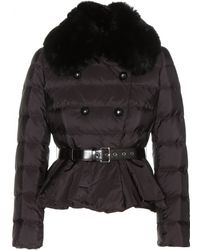 Miu Miu Peplum Down Jacket with Fur Trim - Lyst