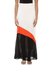 Line & Dot - Gianni Colorblock Maxi Skirt - White/Red - Lyst
