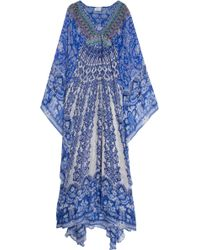 Camilla Long Sleeve  Long Kaftan With Waist Detail - Lyst