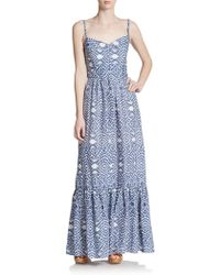 Betsey Johnson Tiered Cotton/Linen Maxi Dress - Lyst