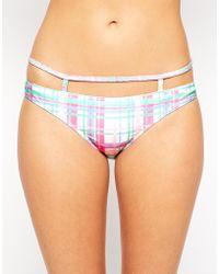 Asos Pastel Check Caged Strappy Bikini Bottom - Lyst