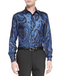 Versace Long-sleeve Leopard-print Shirt - Lyst