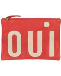 Clare V. Poppy Oui Flat Clutch red - Lyst