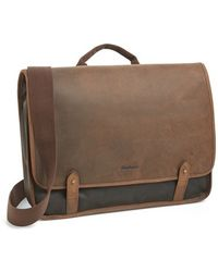 Barbour Waxed Canvas & Leather Messenger Bag - Lyst