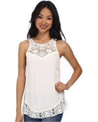 Rebecca Taylor Sleeveless Crepe And Lace Tank Top - Lyst